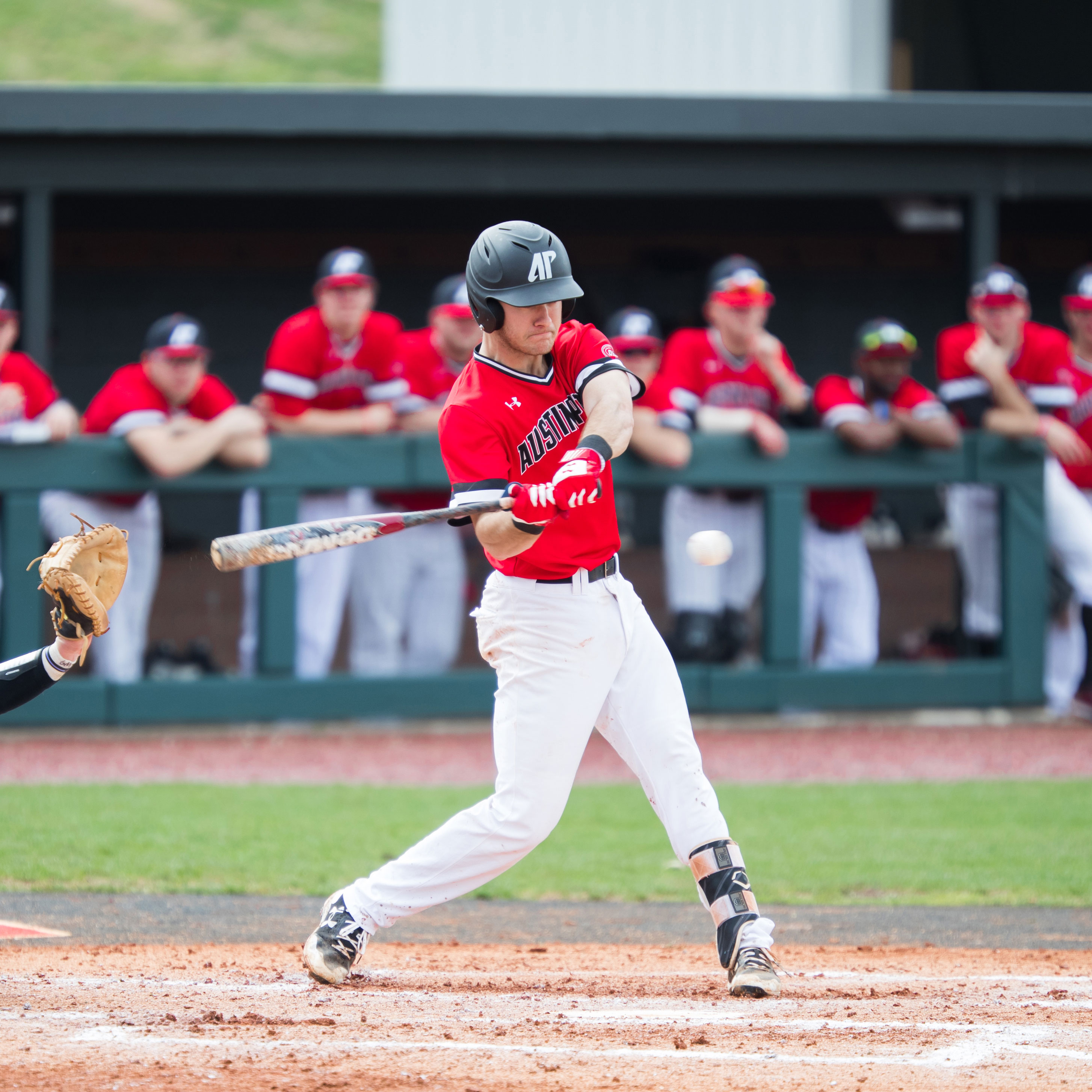 APSU baseball player swinging a bat