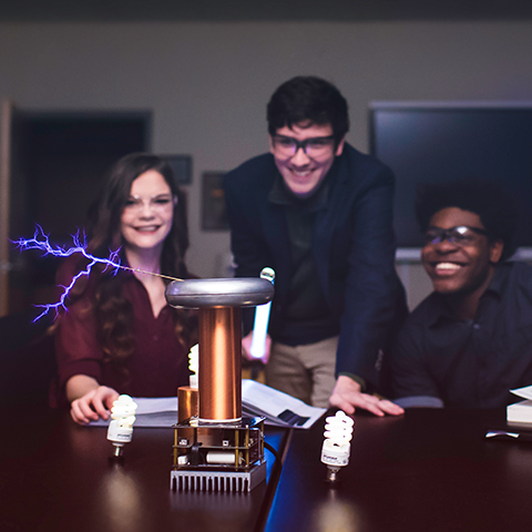 Students use Tesla Coil for physics experiment