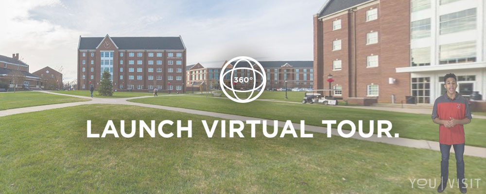 image of campus with virtual tour logo