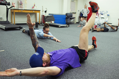 HHP students stretch during lab