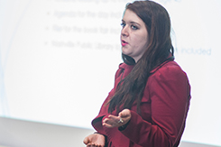 Student presents public relations presentation