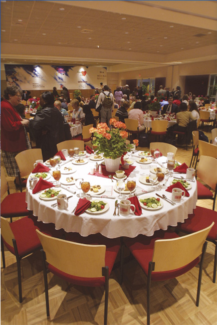 Picture of Ballroom set up with tables and chairs